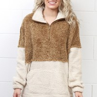 Color Block Sherpa Quarter Zip Pullover {Camel}