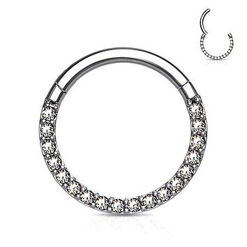 Implant Grade Titanium Brilliant Sparkle Gems Front Lined Clicker Hoop Ring