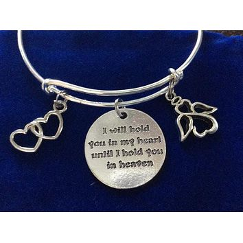 I will Hold you in my Heart Until I can Hold you in Heaven Silver Expandable Charm Bracelet Adjustable Bangle Gift Angel Jewelry Inspirational