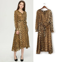 Leopard Print V Neck Tie Waist Dress
