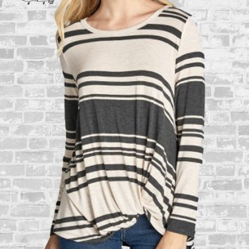 Striped Knot Tee - Oatmeal / Charcoal - Small, Large, or XL only
