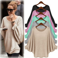 2017 Sring Oversized T Shirts Baggy Women Long Sleeve Tops Tee Casual Women Clothing Loose Bat Pullover T-shirt Batwing Sleeve