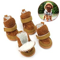 4Pcs Lovely Warm Adjustable Pet Dog Puppy Winter Cotton Anti-slip Snow Cozy Shoes Boots (Pink, Medium)