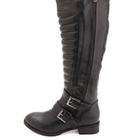 Quilted Zip-Up Double-Belted Riding Boots by Charlotte Russe - Black