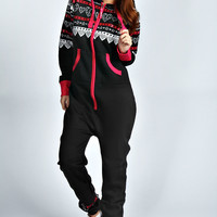 Lucci Love Heart Print Hooded Onesuit