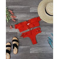 California Girl - Off The Shoulder Smocked Bikini Set in Blood Orange