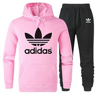 Adidas Autumn And Winter New Fashion Letter Leaf Print Women Men Hooded Long Sleeve Sweater And Pants Two Piece Suit Pink