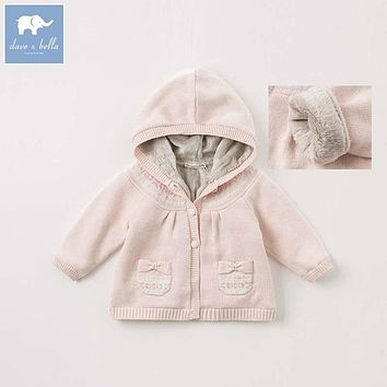 Dave bella baby hooded sweater girls autumn winter coat children boutique Knitted outerwear kids Knit cardigan DBZ8403