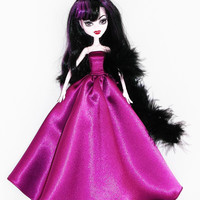 Handmade Monster High Dress Gown Purple with Boa