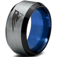 New England Patriots Silver Black and Blue Beveled Tungsten Ring
