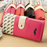 New women wallet High quality smooth PU leather mustache woman purse clutch wallets lady coin purse cards holder SV003811 Bag = 1932580100