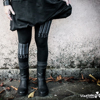 BARCODE - Cyberpunk Dystopia Wasteland Leggings Post Apocalyptic Industrial Printed
