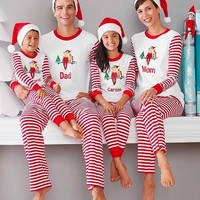 Christmas Family Matching Outfits Mum Dad Baby Boys Girls Christmas Sleepwear Pajamas Set Striped Cotton Christmas Clothes Set