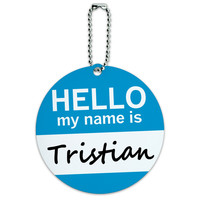 Tristian Hello My Name Is Round ID Card Luggage Tag
