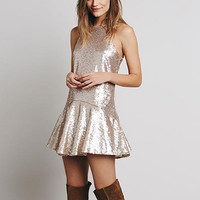 Beige Sleeveless Sequined Pleated Mini Dress