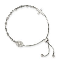 Sterling Silver Miraculous Medal and Cross Adjustable Bolo Bracelet