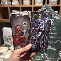 EPENA Cartoon Nightmare Before Christmas Case for iphone X 8 8Plus Cover Skellington 3D Cameo Case For iPhone 7 Plus 6 6s Plus