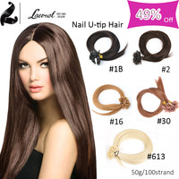 Laurel Hair Products Straight Nail u Tip Remy Human Hair Extensions 100 Strands Fusion Hair Extensions 16-24inch No Tangle Hair