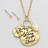 """""""I can Do All Things Through Jesus Christ"""" Gold Necklace"""