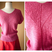1980s Slouchy HOT Pink CHEVRON SWEATER // Preppy New Wave