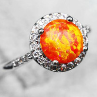 Red Fire Opal Ring - Sizes; 6/7/8