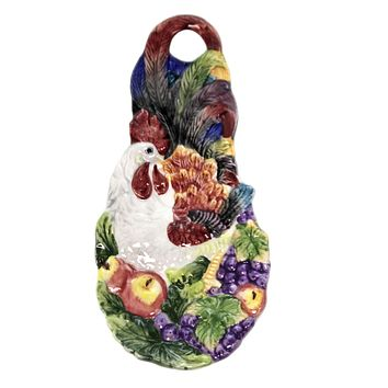 Tabletop Rooster Spoonrest Cooking Apples Grapes - 31007