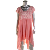 Free People Womens Cotton Hi-Low Casual Dress