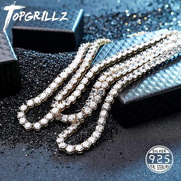 New 925 Sterling Silver 3-6mm Men's Necklace Bling CZ Iced Out Hip Hop Link Tennis Chain Silver Gold Necklace Jewelry For Gift