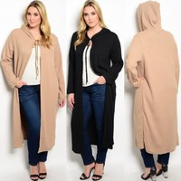 Women Plus Size Hoodie Long Cardigan Sweater hooded Duster Jacket Cover up 4X 5X