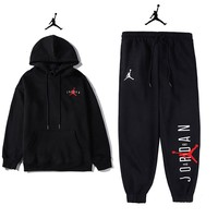 Jordan New fashion embroidery people letter couple long sleeve top sweater and pants two piece suit Black