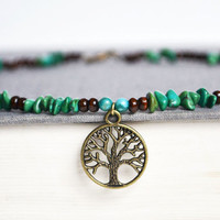 Wood and Turquoise Necklace.Tree of Life Bead Necklace. Hippie Tree Nature Charm Jewelry. Green Brown Blue Jewelry. Canadian Shop