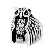 New Arrival Gift Shiny Jewelry Stylish Strong Character Punk Hip-hop Titanium Owl Ring [6544904515]