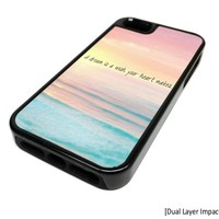 Apple iPhone 5 or 5S Dream Beach Heart Quote Summer Dual Layer Impact Protector Rugged Tough Case Cover Skin Hipster Cute DESIGN BLACK RUBBER SILICONE Teen Gift Vintage Hipster Fashion Design Art Print Cell Phone Accessories