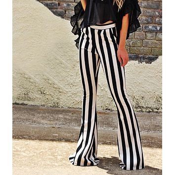 New fashion black and white striped bootcut autumn trousers