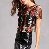 Semi-Sheer Embroidered Top