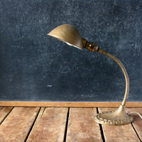 Vintage Gooseneck Lamp, Gold Desk Lamp, Industrial Lamp with Cast Iron Base and Rope Detail, Art Deco Style, Gold Paint