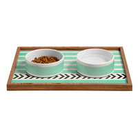Allyson Johnson Mint Stripes And Arrows Pet Bowl and Tray