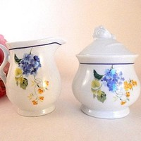 Creamer and Sugar Bowl Coffee Serving Dishes White Ceramic Blue Floral Tea Dishes Vintage Kitchen Tableware Accessory FREE SHIPPING