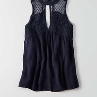AEO Lace Mix Shell Top , Navy