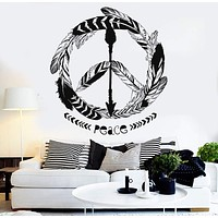 Vinyl Wall Decal Feathers Peace Hippie Ethnic Style Stickers Unique Gift (ig4530)
