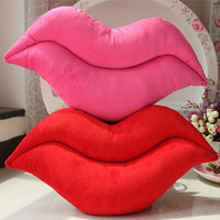 Hot New Creative Novelty Funny Cushion Pink Red Lip Plush Toy Throw Pillow For Couch Soft Gift  Bed Home Decoration V995