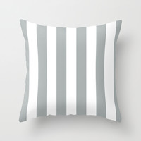 Stripe Vertical Grey & White Throw Pillow by Beautiful Homes