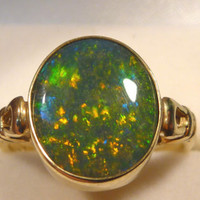 Ladies Opal Ring 14ct Yellow Gold Doublet Oval Opal. item 30102.