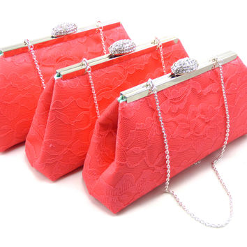 Set of Three Calypso Coral and Mint Bridesmaid Gift Clutches