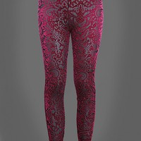 Beautiful Bordeaux Red Velvet Lace Look Leggings