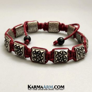FlatBead Collection: Textured Antique Silver | Flat Bead Bracelet | Red Cord