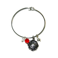 Silver Firefighter Bangle with Red and White Crystals, One Size Fits Most