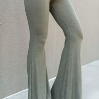Cher Ribbed Flare Pants - Olive