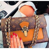 Louis Vuitton High-quality lady print color matching shoulder slung chain bag Brown