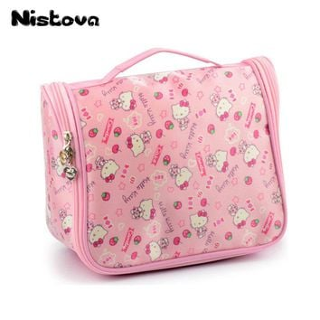 Hello Kitty Cosmetic Make Up Organizer Bag With Hanging HookToiletry Shower Bag With Mesh Pocket For Girls Women's Vacation